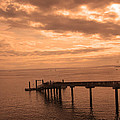 Quiet Peachy Toned Pier by Kym Backland