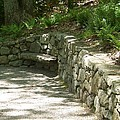 Bench In A Stone Wall by Catherine Gagne