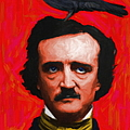 Quoth The Raven Nevermore - Edgar Allan Poe - Painterly - Red - Standard Size by Wingsdomain Art and Photography