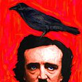 Quoth The Raven Nevermore - Edgar Allan Poe - Painterly - Square by Wingsdomain Art and Photography