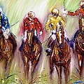 Irish Racehorses Available As A Signed And Numbered Print See Www.pixi-.com by Mary Cahalan Lee- aka PIXI