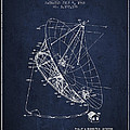 Radio Telescope Patent From 1968 - Navy Blue by Aged Pixel