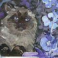 Ragdoll Cat Blue Eyes Inside With Blue Hollyhocks by Christine Montague