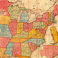 Railroad Map Of The United States 1852 by Mountain Dreams