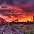 Rails To A Red Sunset by HW Kateley