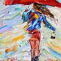 Rain Dance With Red Umbrella by Karen Tarlton