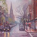 Rain On Newbury St by Dianne Panarelli Miller
