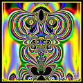 Rainbow Alien Owls Fractal 57 by Rose Santuci-Sofranko