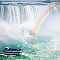 Rainbow And Tourist Boat At Niagara Falls by Elena Elisseeva