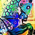 Rainbow Carousel Horse by Patty Vicknair