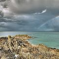 Rainbow In Storm Clouds Pointe De Saint Cast  by Gary Eason