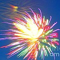 Rainbow Of Color Abstract Fireworks by Judy Palkimas