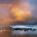 Rainbow Over Harbor At Sunset, Portree by Panoramic Images