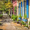 Rainbow Row Sidewalk by Curtis Cabana