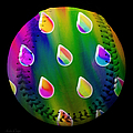 Rainbow Showers Baseball Square by Andee Design