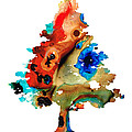 Rainbow Tree 2 - Colorful Abstract Tree Landscape Art by Sharon Cummings