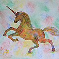 Rainbow Unicorn In My Garden Original Watercolor Painting by Georgeta  Blanaru