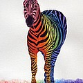 Rainbow Zebra Iv by Sharon Farber