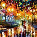Rain's Rustle - Palette Knife Oil Painting On Canvas By Leonid Afremov by Leonid Afremov
