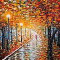 Rainy Autumn Day Palette Knife Original by Georgeta  Blanaru