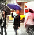 Rainy Day In The City - Blue Pink And Polka Dots by Miriam Danar