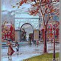 Rainy Day In Washington Square- New York City- 1905 by Dwight Goss