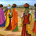 Rajasthani  Women Going Towards A Pond To Fetch Water by Vidyut Singhal