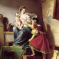 Raphael Adjusting His Model's Pose For His Painting Of The Virgin And Child  by Alexandre Evariste Fragonard
