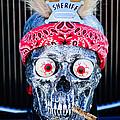 Rat Rod Skull Hood Ornament 2 by Jill Reger