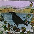 Raven In Colored Leaves by Carolyn Doe