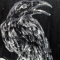 Raven On The Branch - Oil Painting by Fabrizio Cassetta