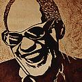 Ray Charles Original Coffee Painting by Georgeta  Blanaru
