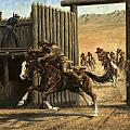 Re-closing Frontiersmen Coming Into The Fort by Don  Langeneckert