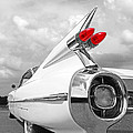 Reach For The Skies - 1959 Cadillac Tail Fins Black And White by Gill Billington