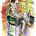Reading El Pais And Drinking Rioja In Spain by Miki De Goodaboom