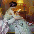 Reading In Lamp Light by Delphin Enjolras