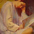 Reading In The Blue Robe  by Irena  Jablonski