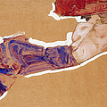 Reclining Semi-nude With Red Hat by Egon Schiele