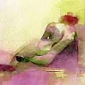 Reclining Woman Magenta Green And Orange Watercolor Painting by Beverly Brown