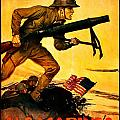 Recruiting Poster - Ww1 - Marines Over The Top by Benjamin Yeager
