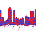 Red And Blue Art Print Of The Skyline Of Atlanta Georgia Usa by Chris Smith