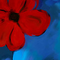 Red And Blue -flower -art by Ann Powell