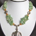 Red And Green Aventurine Turtle Necklace by Megan Cohen