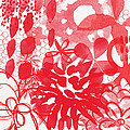 Red And White Bouquet- Abstract Floral Painting by Linda Woods
