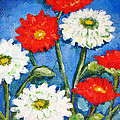 Red And White Flowers With A Blue Sky by Ashleigh Dyan Bayer