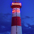 Red And White Lighthouse Shows Neon by Panoramic Images