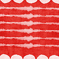 Red and White Shibori Design by Linda Woods