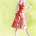 Red And White Striped Dress Fashion Illustration Art Print by Beverly Brown