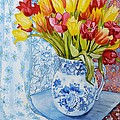 Red And Yellow Tulips In A Copeland Jug by Joan Thewsey