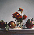 Red Apples And Marigolds by Larry Preston